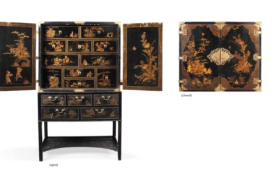 A GEORGE III JAPANNED CABINET-