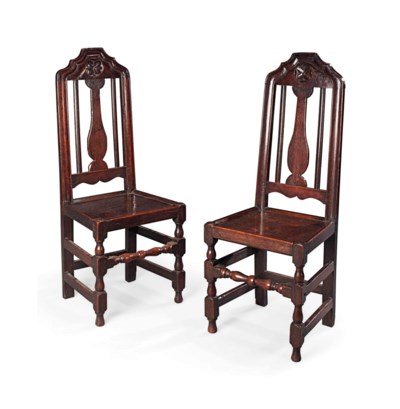 A PAIR OF QUEEN ANNE OAK SOLID