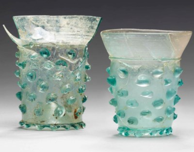 TWO MEDIEVAL GLASS BEAKERS (NU