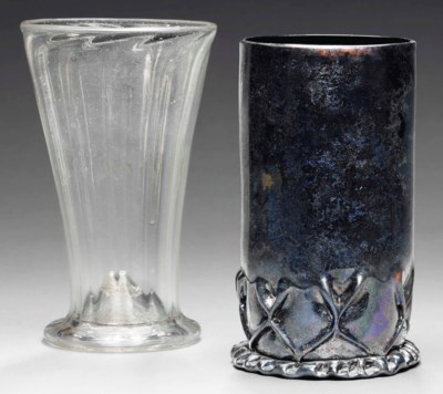 A RIBBED GLASS BEAKER AND ANOT