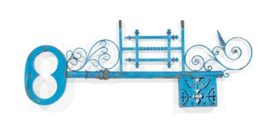 A FRENCH BLUE-PAINTED IRON AND