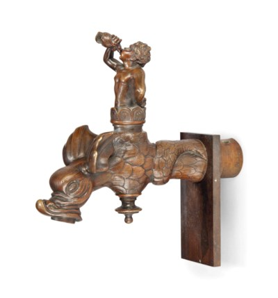 AN ITALIAN BRONZE WATER-SPOUT