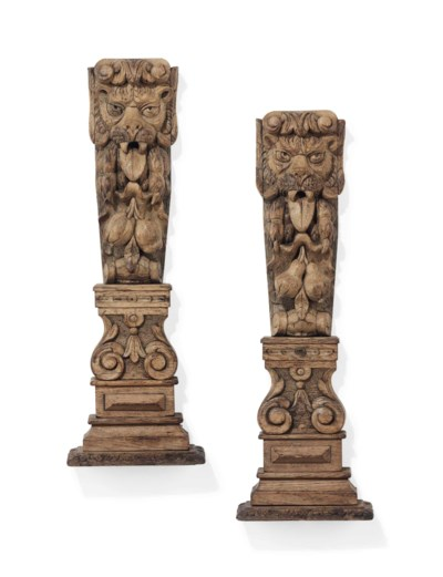 A PAIR OF OAK STILES CARVED WI