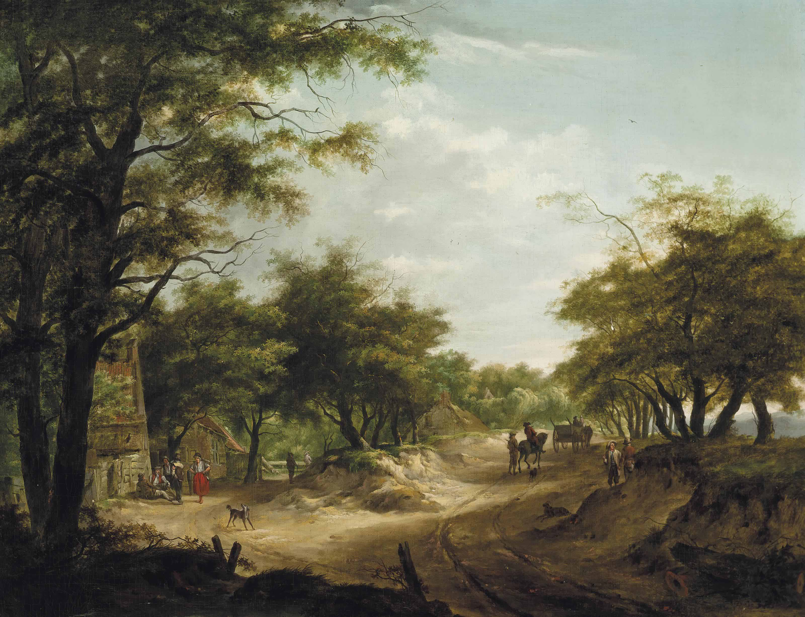 A wooded landscape with travellers on a track and figures at rest before an inn