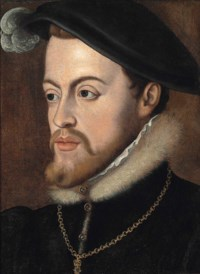 Portrait of Philip II of Spain (1527-1598), bust-length, in a black coat and white fur collar, black court bonnet and a gold chain with pendant