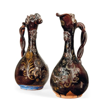 A PAIR OF TURKISH GLAZED EARTH