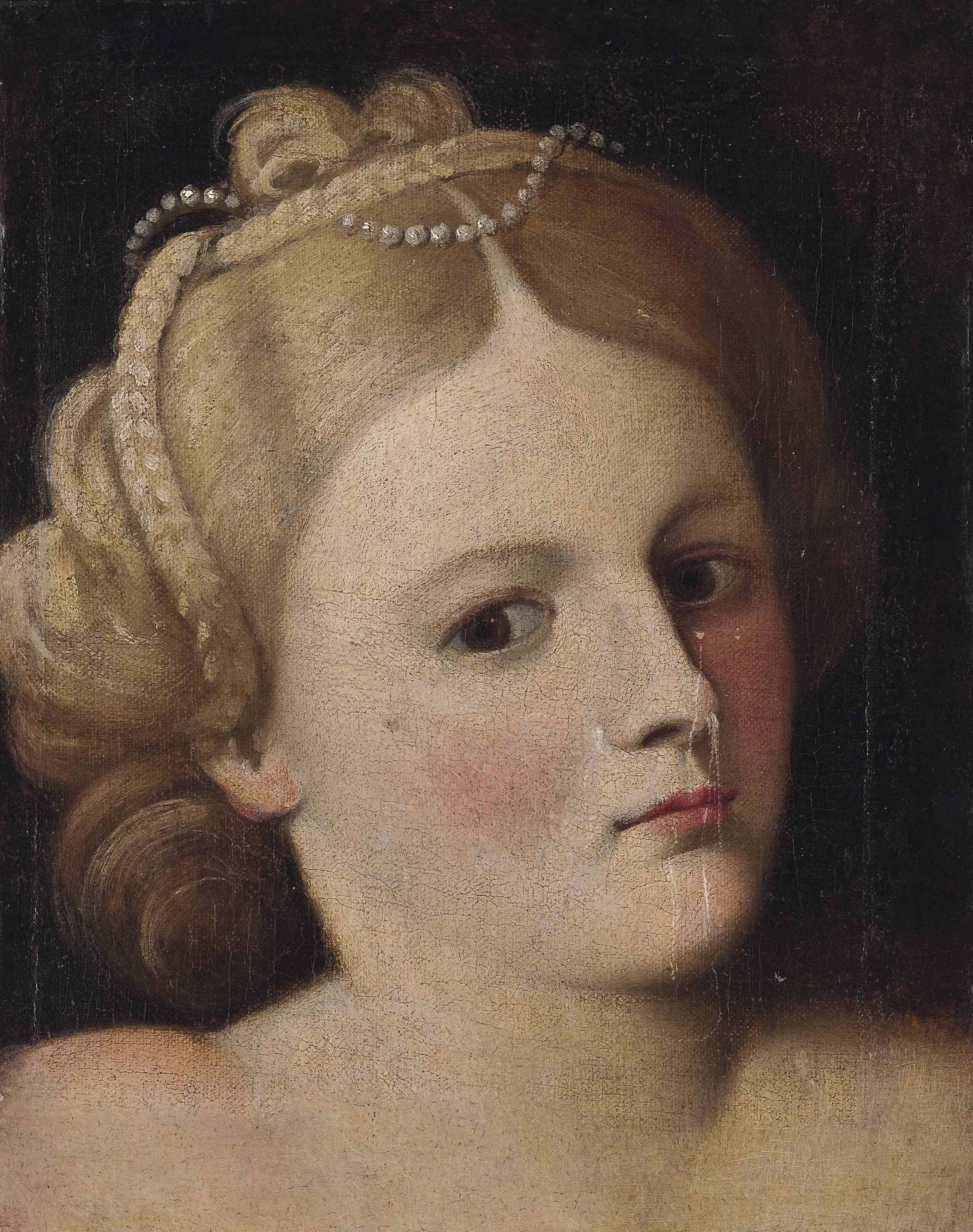 Portrait of a woman, bust-length, with pearls in her hair