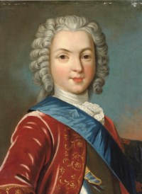 Portrait of a gentleman, traditionally identified as Charles Edward Stuart, Bonnie Prince Charlie (1720-1788), bust-length, in a red coat and a blue sash
