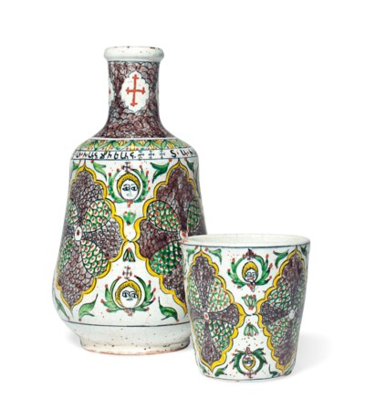 A KUTAHYA POTTERY DECANTER AND