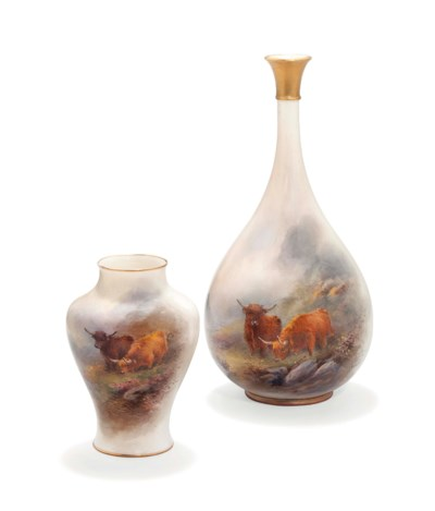 TWO ROYAL WORCESTER VASES BY H