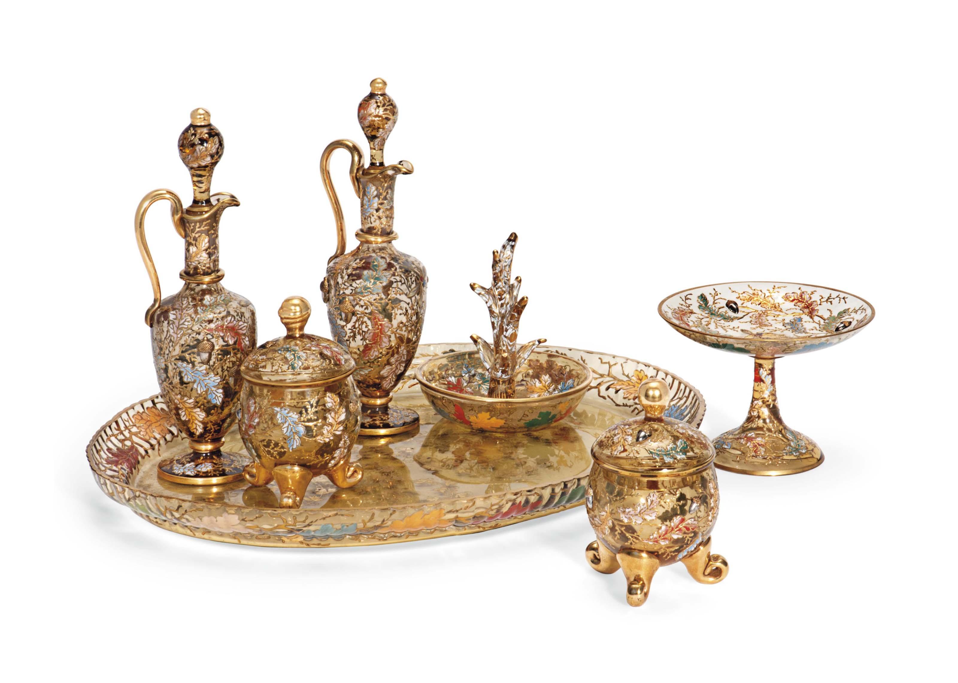 A MOSER ENAMELLED GLASS DRESSING TABLE SET | CIRCA 1880-90, GILT ...