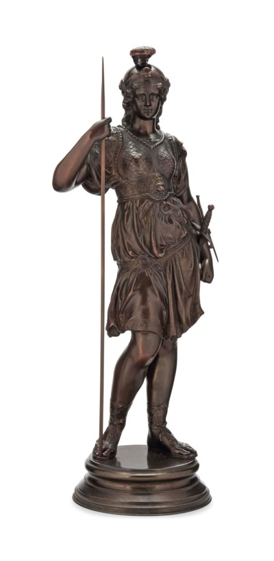 A PATINATED SPELTER MODEL OF A