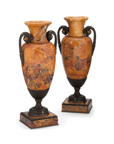 A PAIR ITALIAN BRONZE-MOUNTED