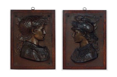 A PAIR OF FRENCH BRONZE PORTRA