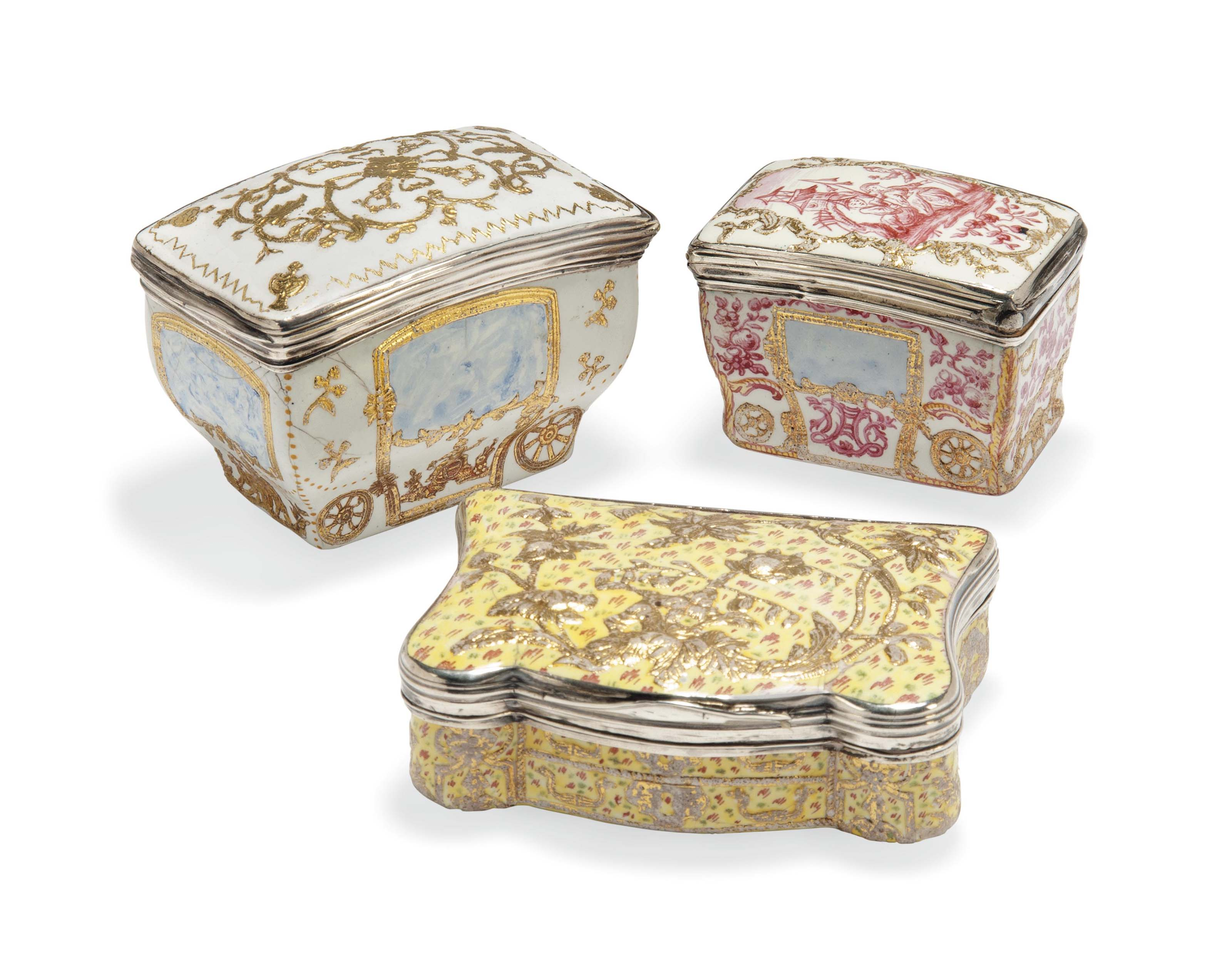 A GROUP OF THREE LOUIS XV SILVER-MOUNTED ENAMEL SNUFF-BOXES