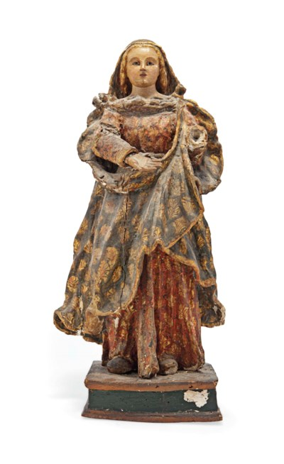 A SPANISH POLYCHROME-DECORATED