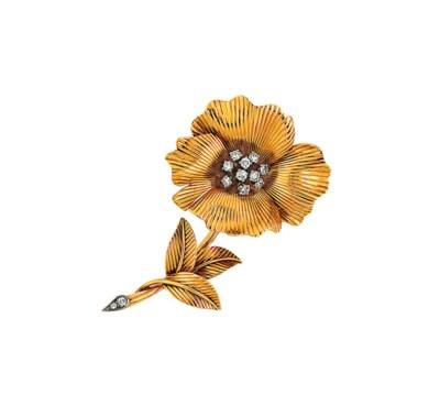 A diamond-set flower brooch, b