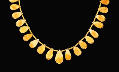 An 18ct gold citrine necklace