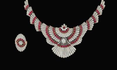 A ruby and diamond jewelry sui