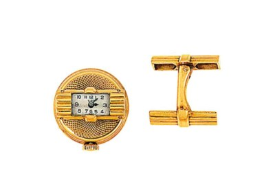 A pair of watch cufflinks, by