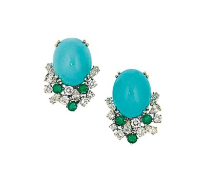 A pair of turquoise and gem-se