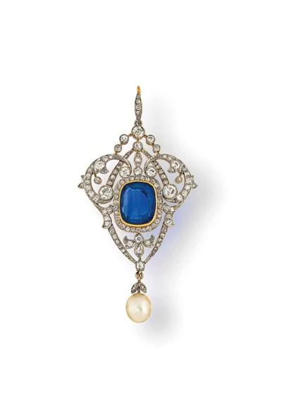 An Edwardian sapphire, pearl a