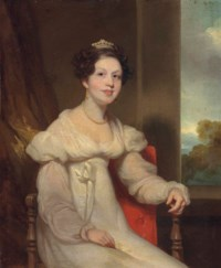 Portrait of a lady, seated small three-quarter length in an interior, a landscape beyond