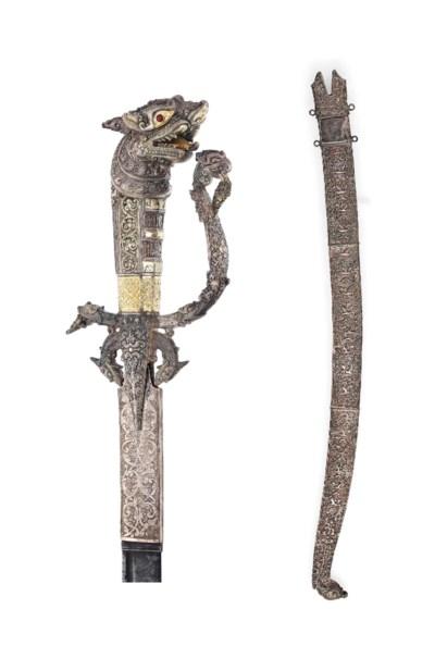 A FINE SILVER SINHALESE SWORD