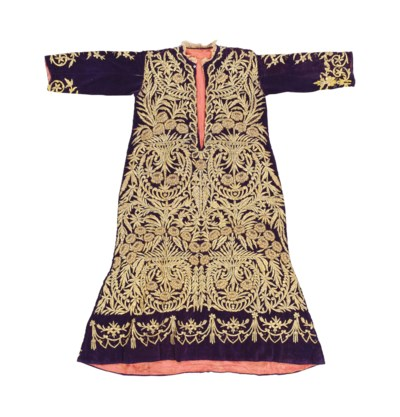 A GOLD-EMBROIDERED PURPLE VELV