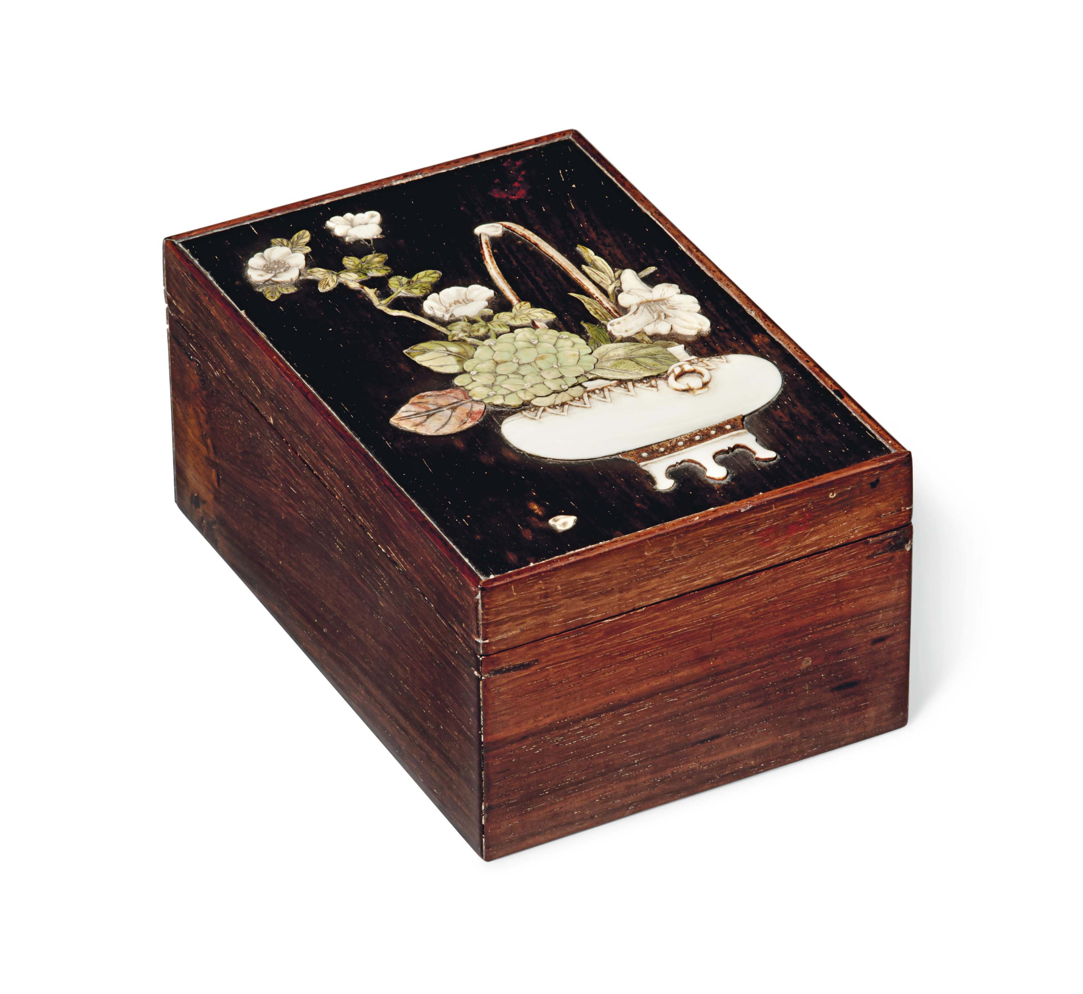 A Japanese Inlaid Wood Box