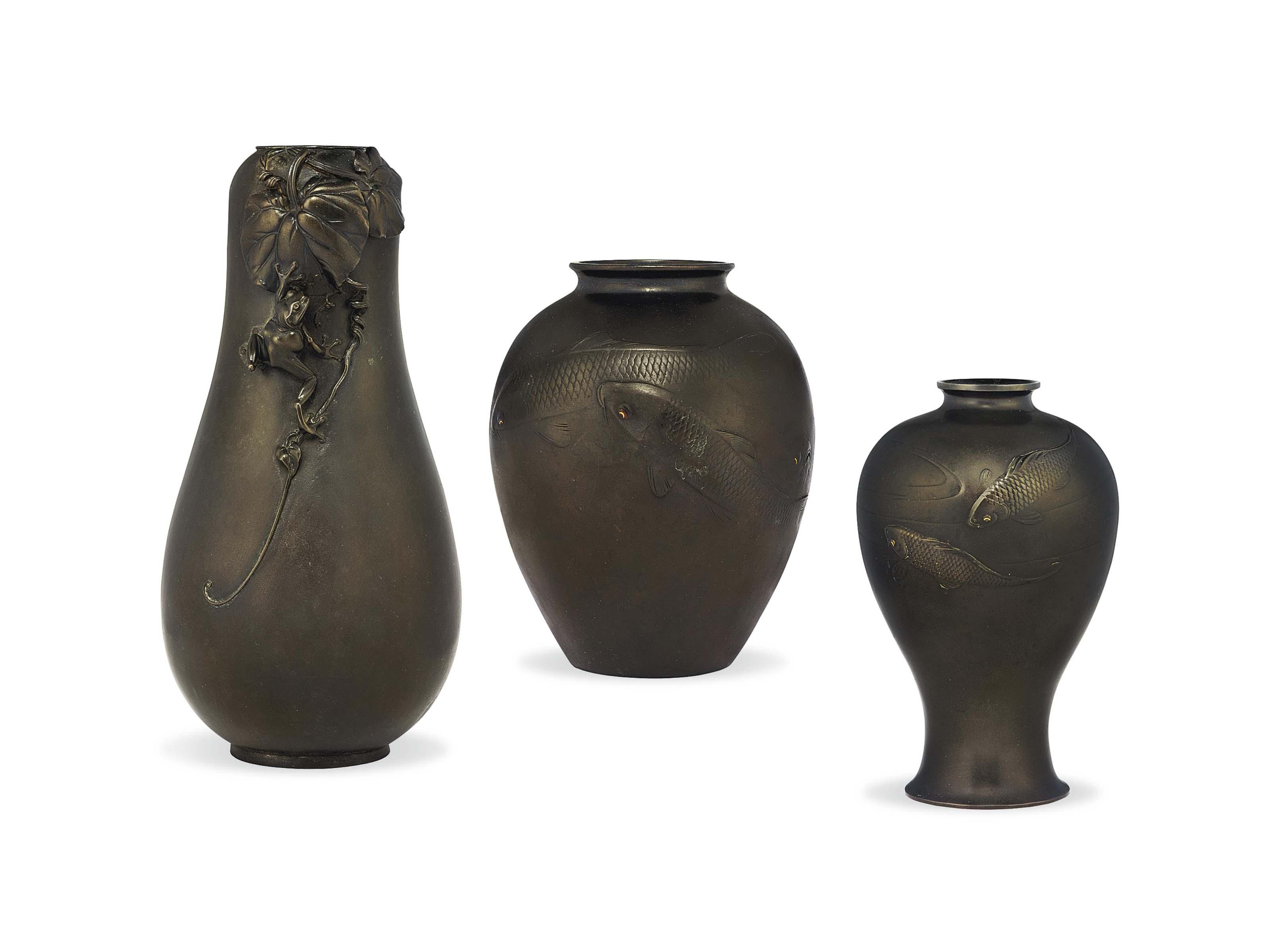 Three Japanese Bronze Vases