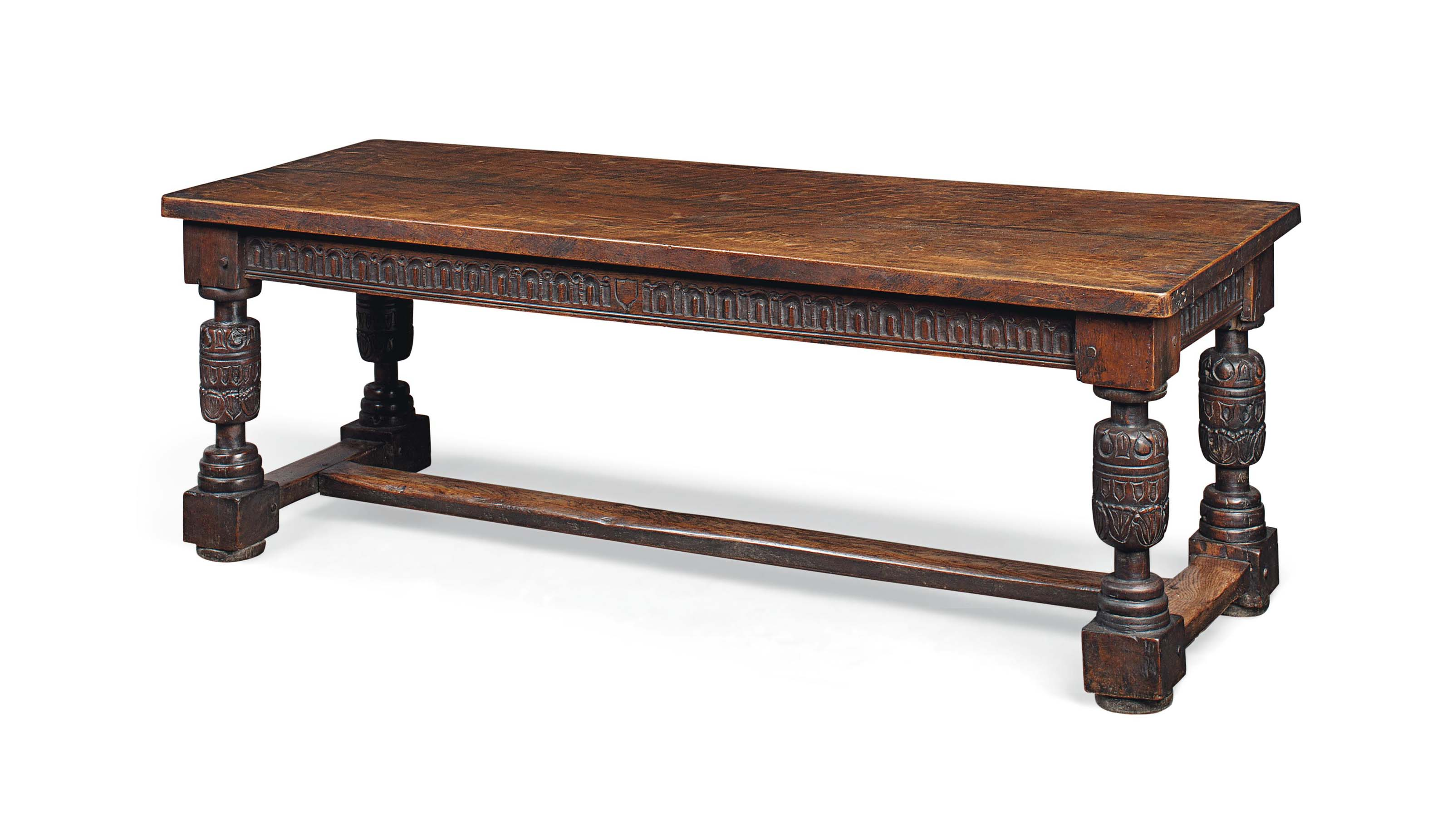 A VICTORIAN OAK REFECTORY TABL