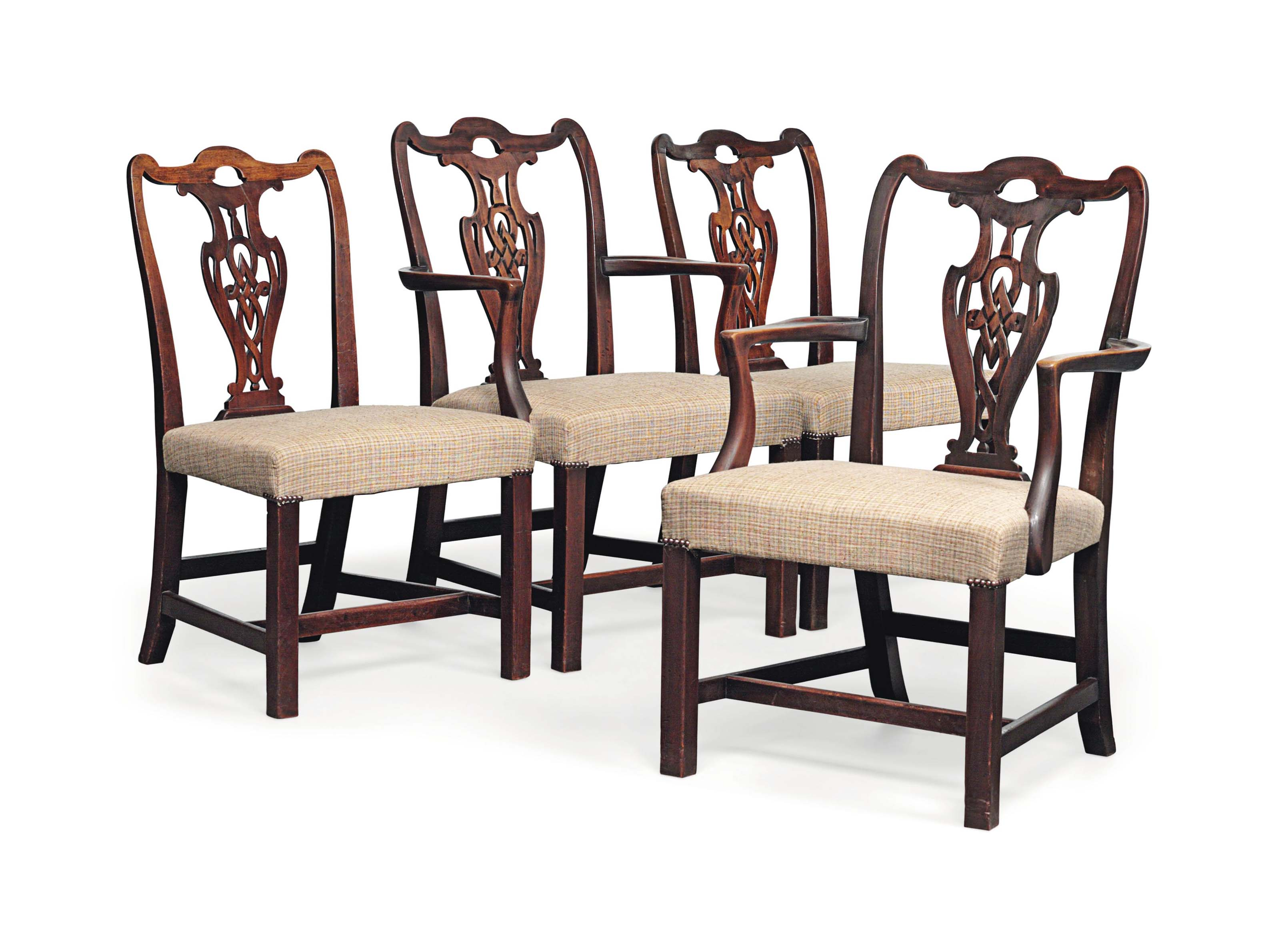 A SET OF FOUR MAHOGANY CHAIRS