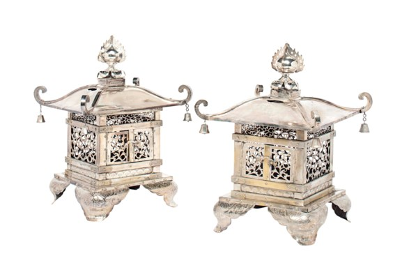 A PAIR OF JAPANESE SILVERED BR