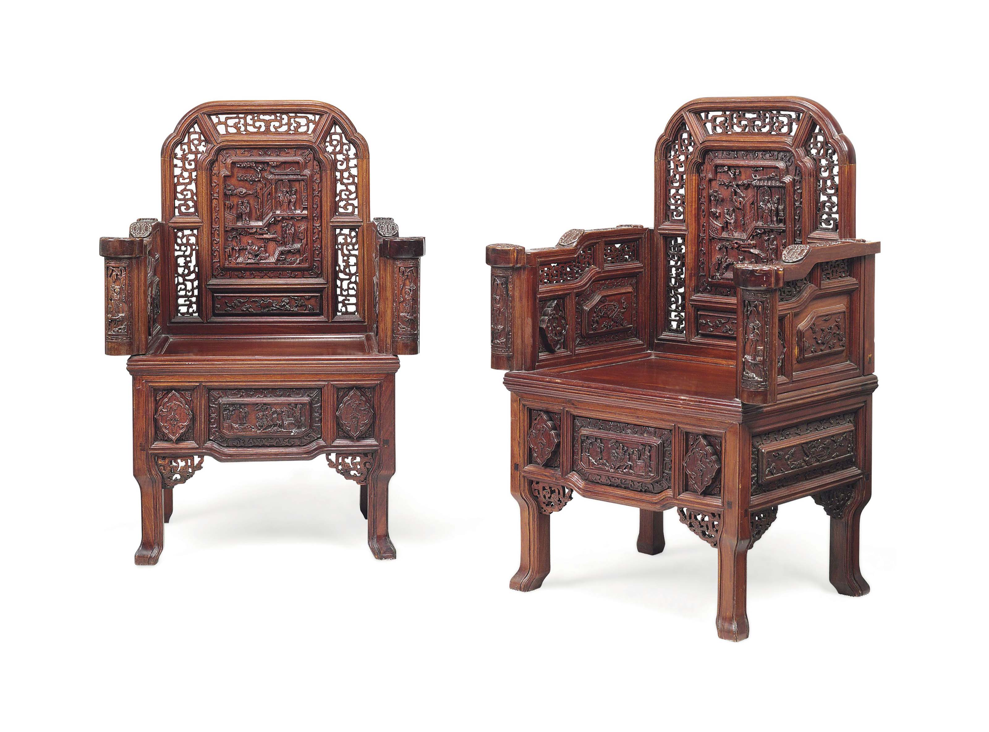 A PAIR OF CHINESE HARDWOOD ARM