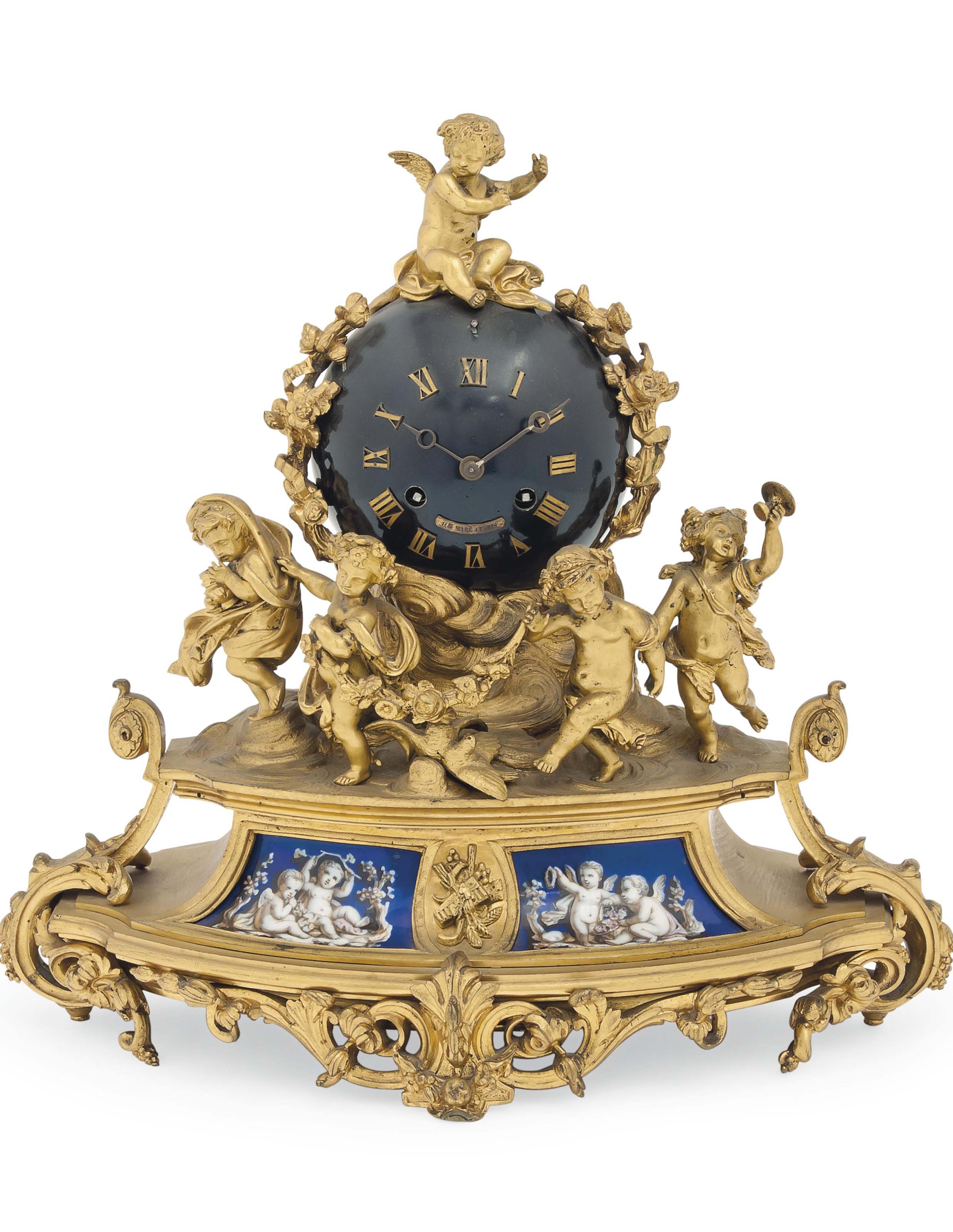 A FRENCH PORCELAIN-MOUNTED GIL