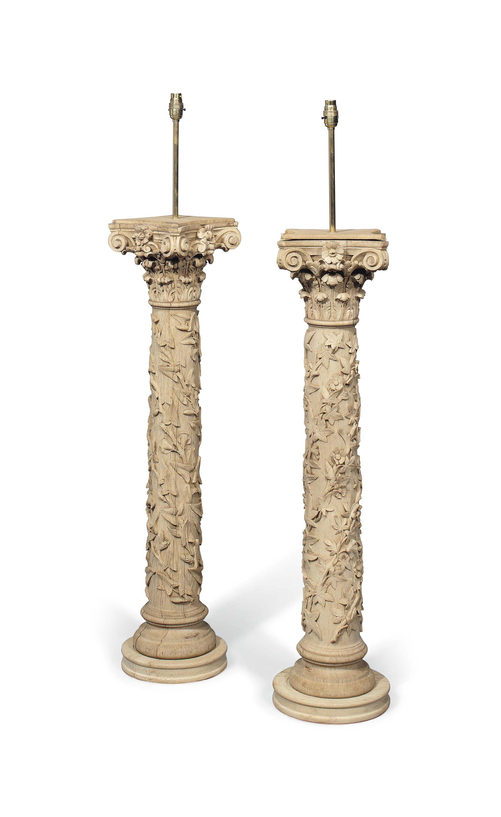 A PAIR OF OAK NEWEL POSTS AS L