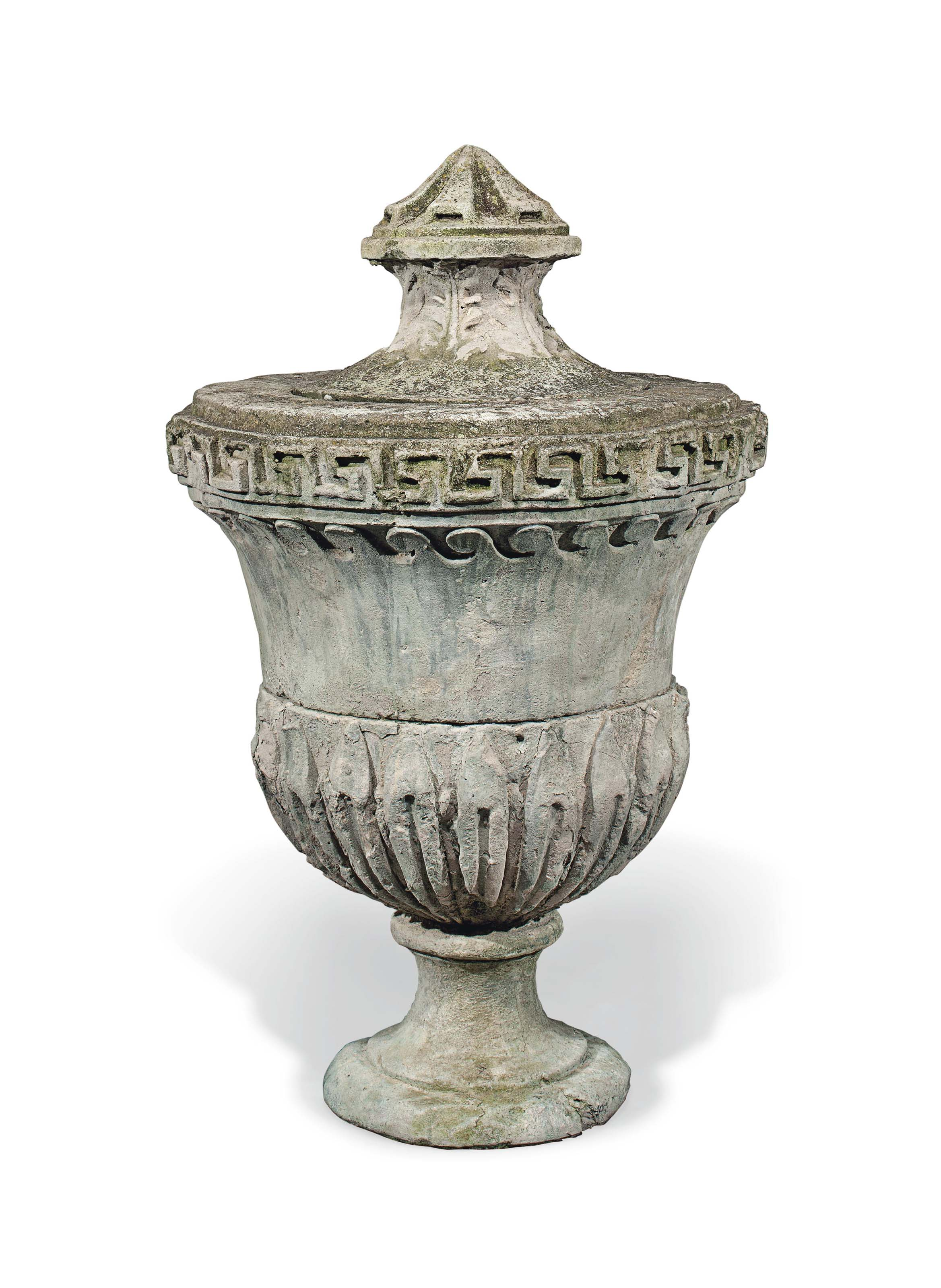 A LARGE COMPOSITE STONE URN AN