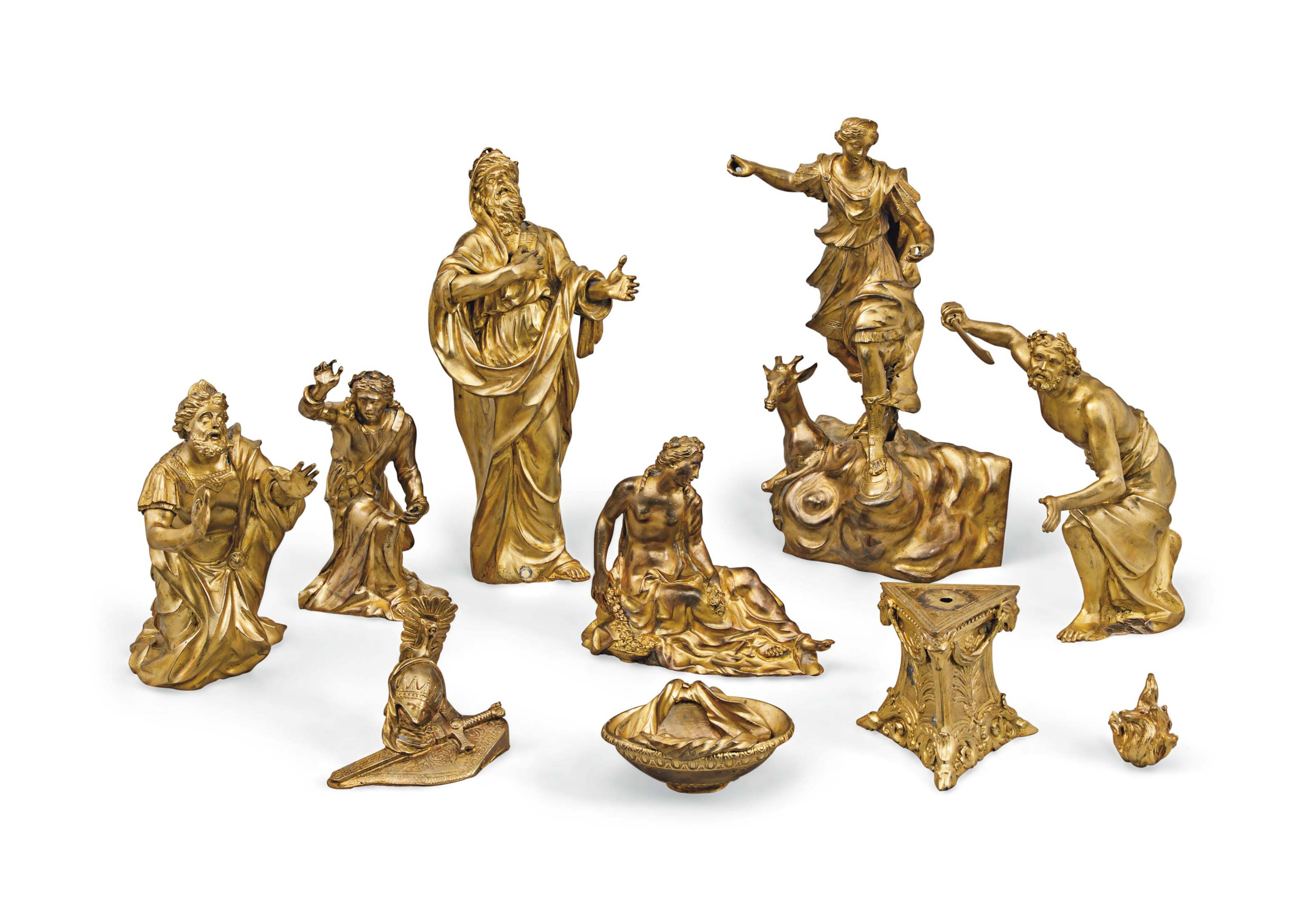 A COLLECTION OF GILT-BRONZE CL