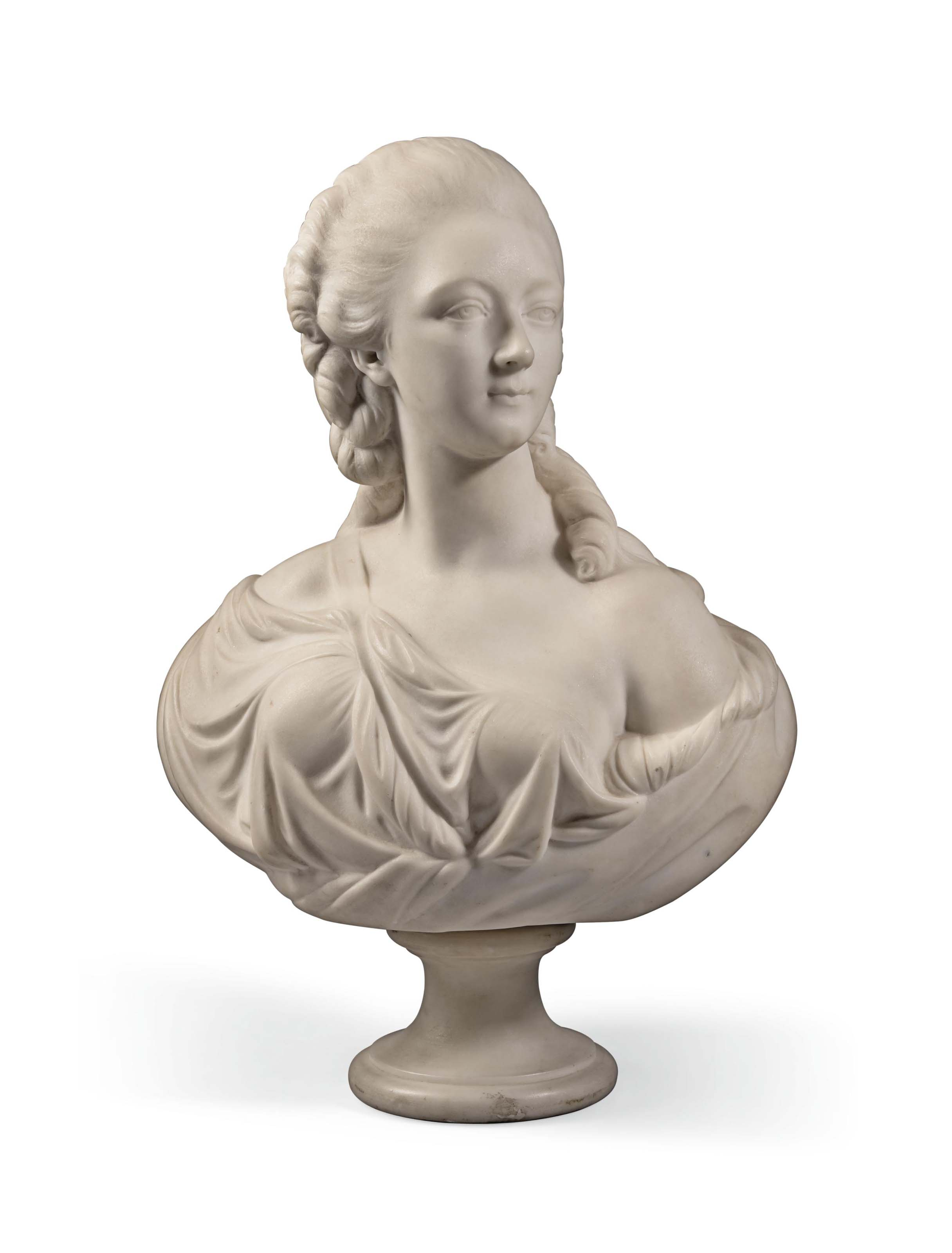 A FRENCH MARBLE BUST OF MADAME