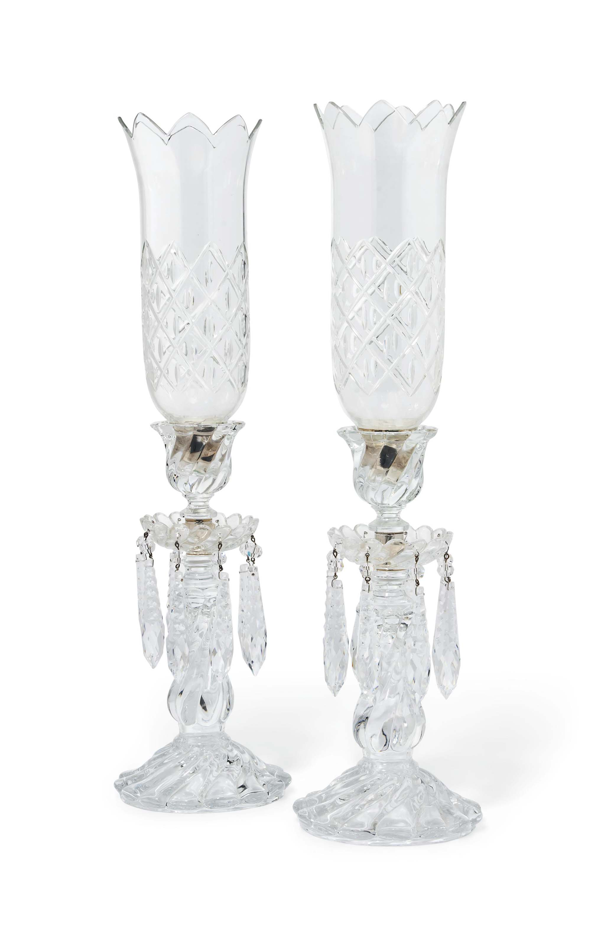 A PAIR OF BACCARAT MOULDED GLA