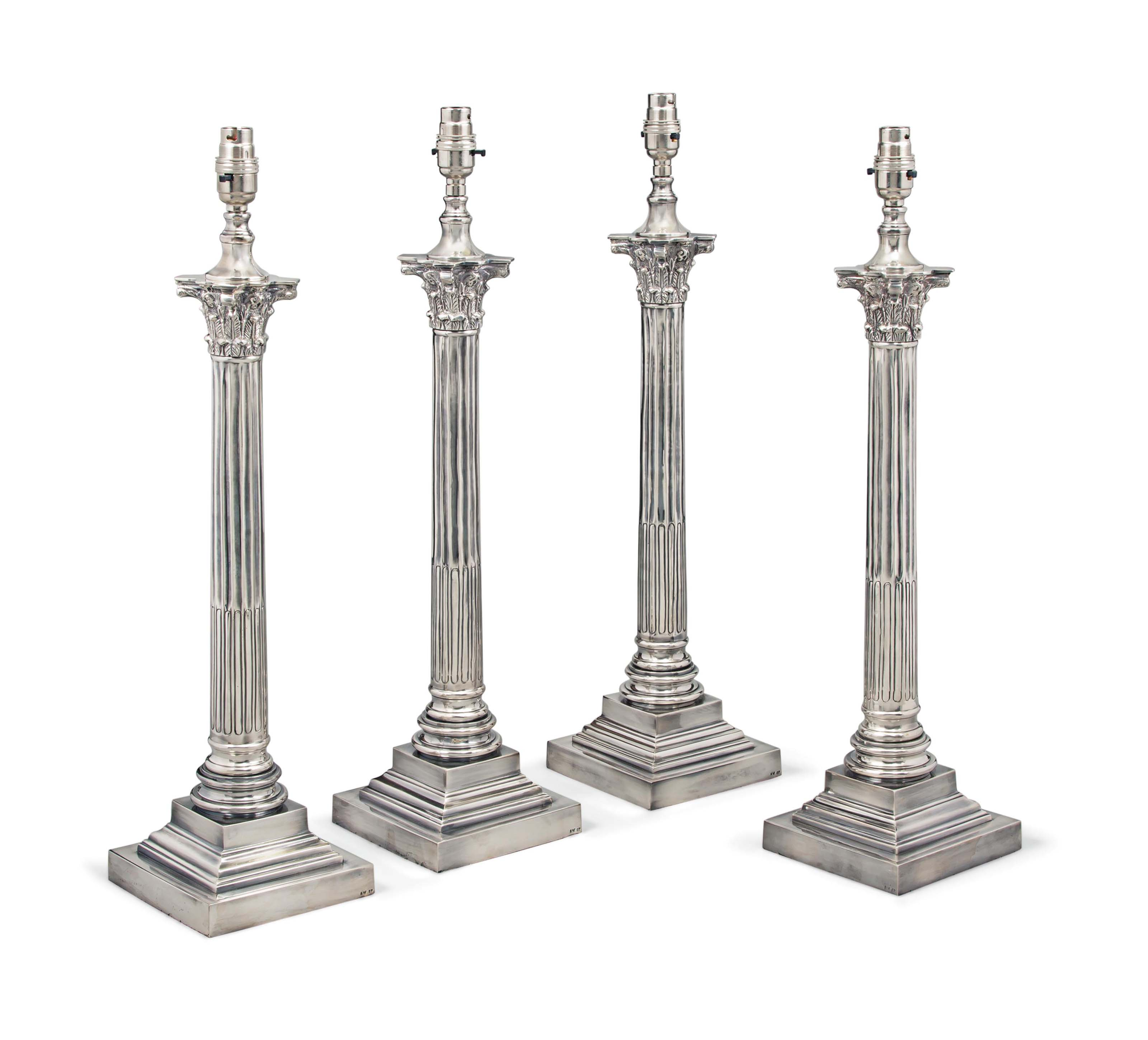 A SET OF FOUR SILVER-PLATED TA
