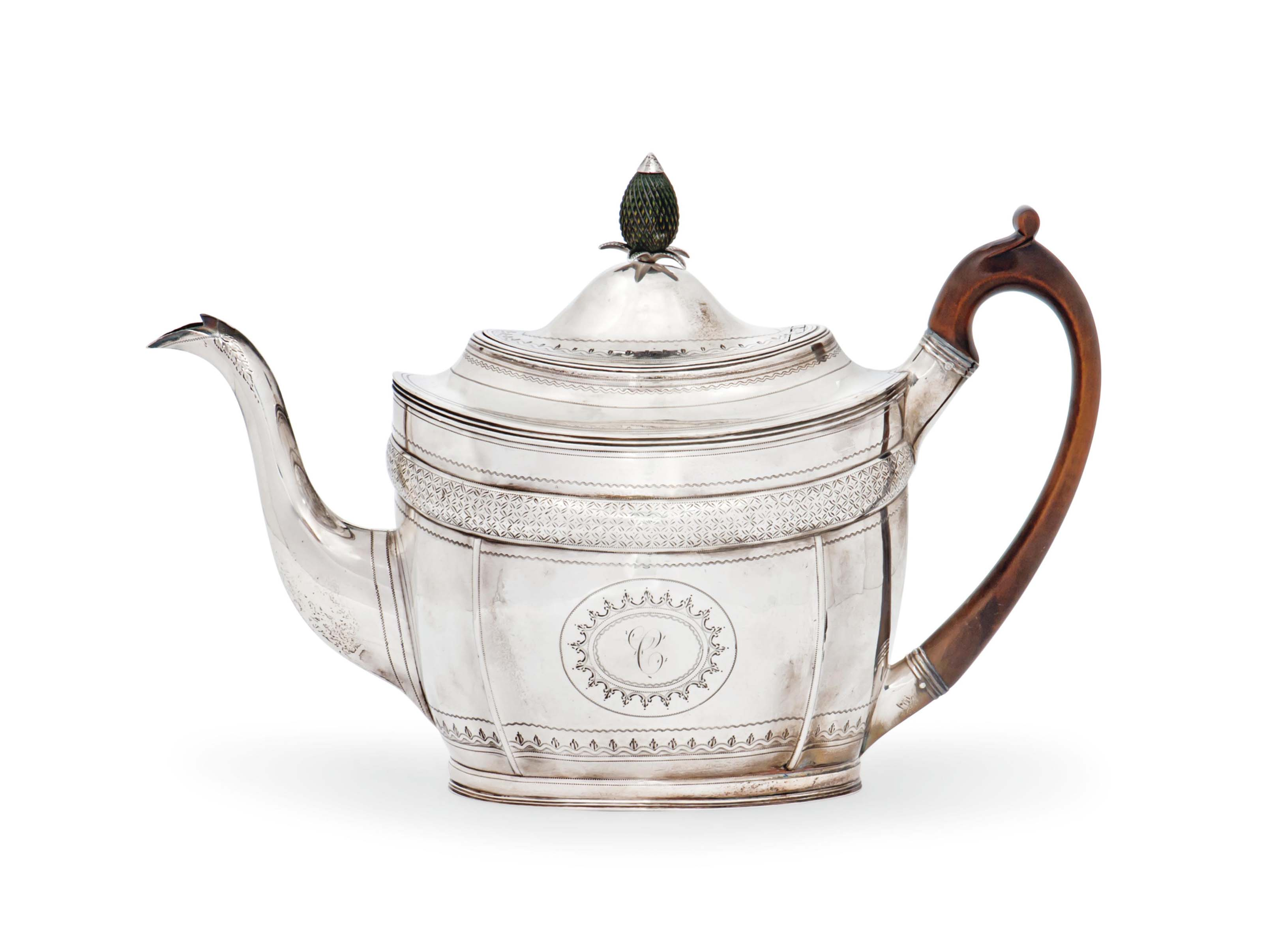 A GEORGE III OVAL SILVER TEAPOT