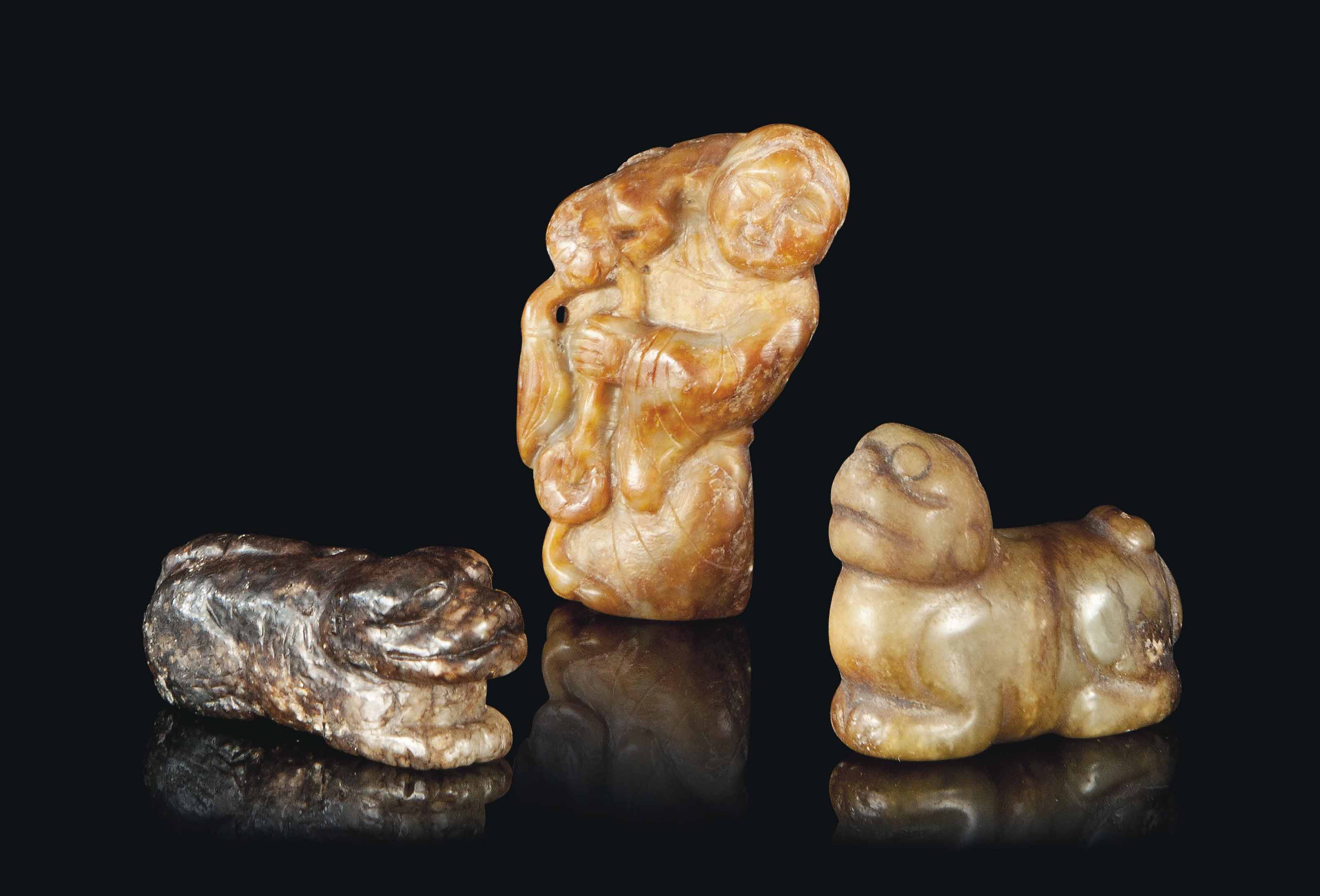 THREE CHINESE JADE CARVINGS