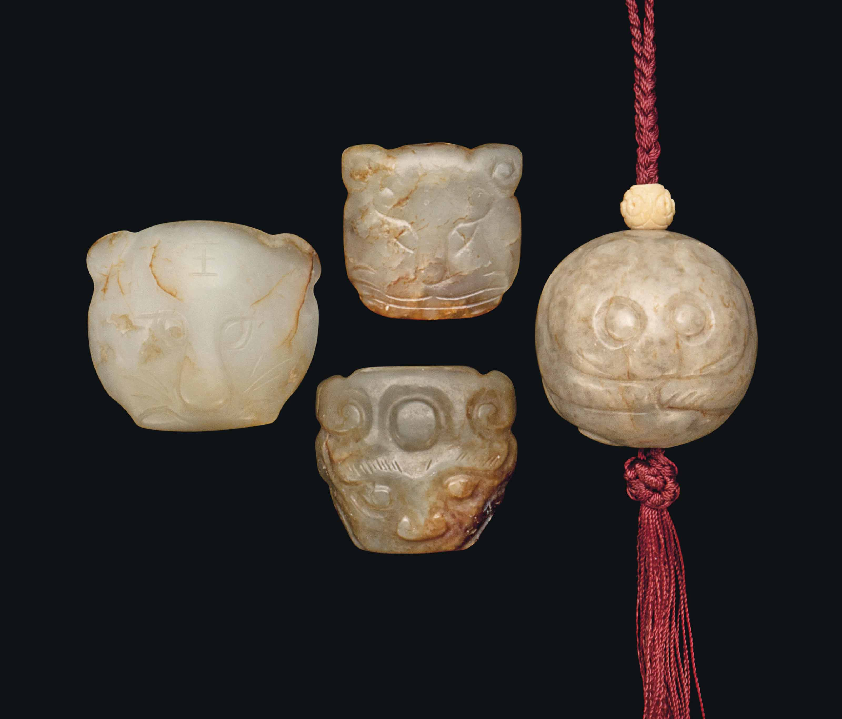 FOUR CHINESE JADE CARVINGS