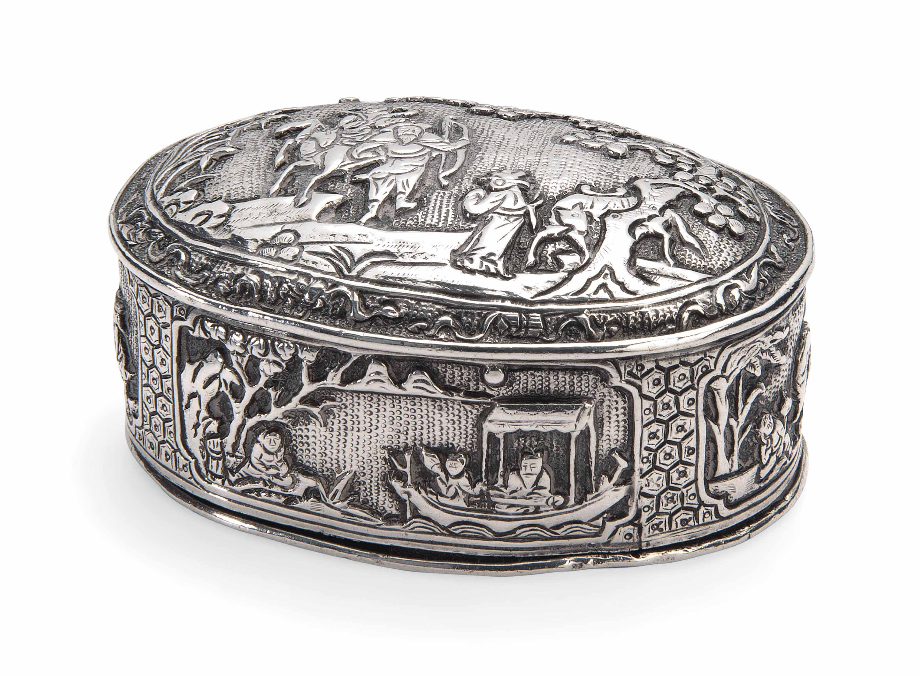 A CHINESE SILVER TOBACCO BOX