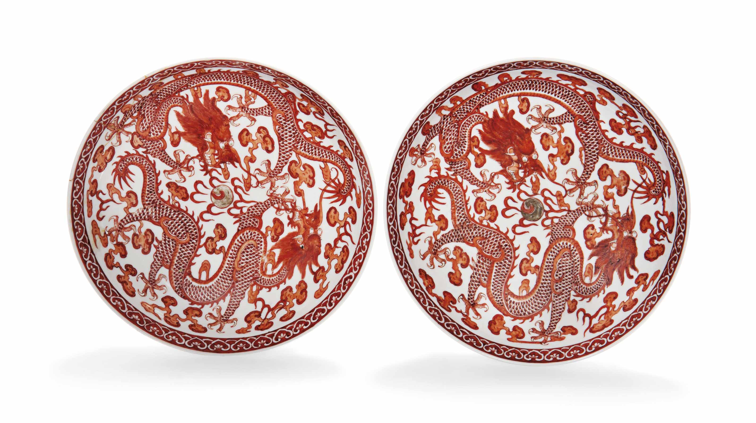 A PAIR OF CHINESE IRON-RED-DEC