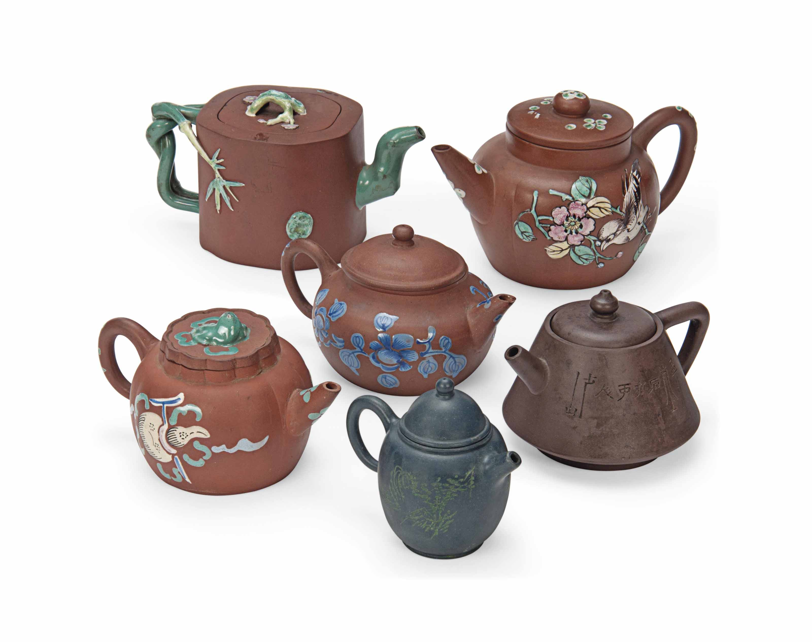 SIX CHINESE YIXING TEAPOTS