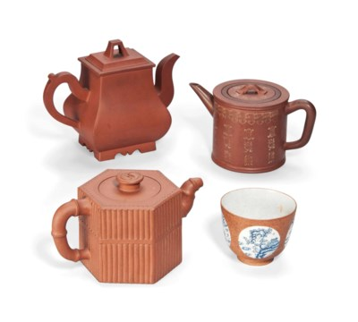 THREE CHINESE YIXING TEAPOTS A