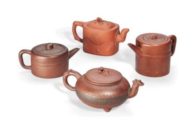 FOUR CHINESE YIXING TEAPOTS